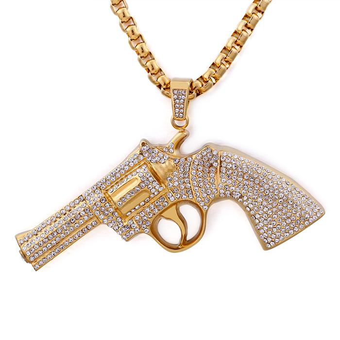 2019-Mens-Hip-Hop-Bling-Stainless-Steel-Hand-gun-pistol ...