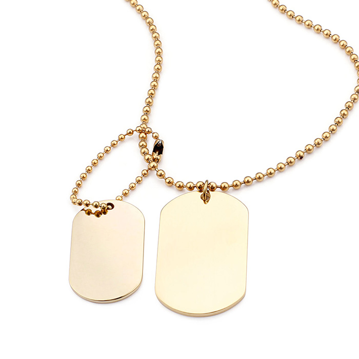 Men's Stainless Steel Double Dog Tag Pendant Necklace with ...