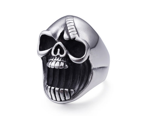 Mens Stainless Steel Skull roaring furious Fashion Ring Jewelry Manufacturer
