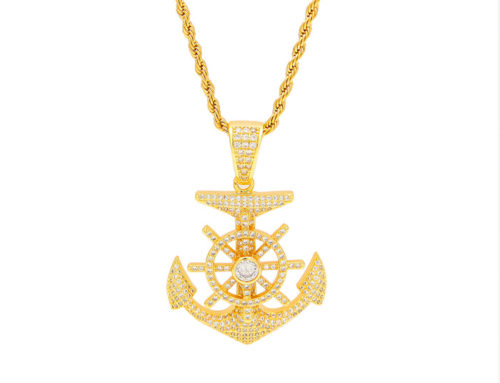 2019 creative factory price mens brass iced out anchor pendant with 3mm 24inch rope chain high quality hip hop jewelry manufacturer