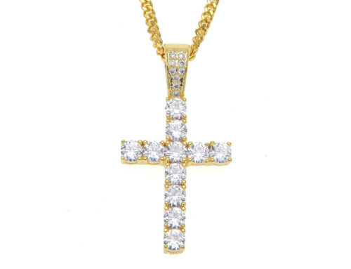 2019 factory price mens brass cross pendant with 3mm 24inch miami cuban link chain high quality hip hop bling iced out jewelry manufacturer