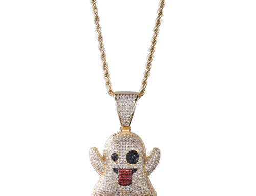 2019 factory price mens brass ghost emoj pendant with 3mm 24inch rope chain high quality hip hop bling iced out jewelry manufacturer