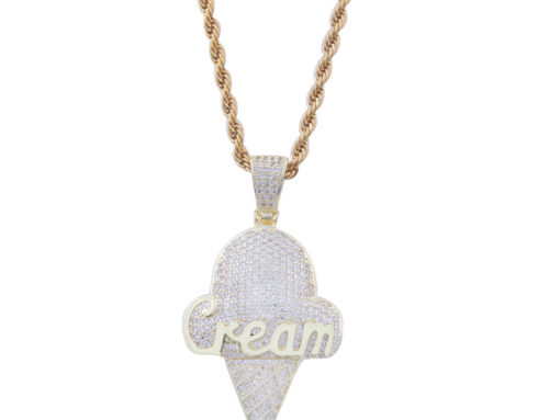 2019 factory price mens brass iced out ice cream pendant with 3mm 24inch rope chain high quality hip hop jewelry manufacturer