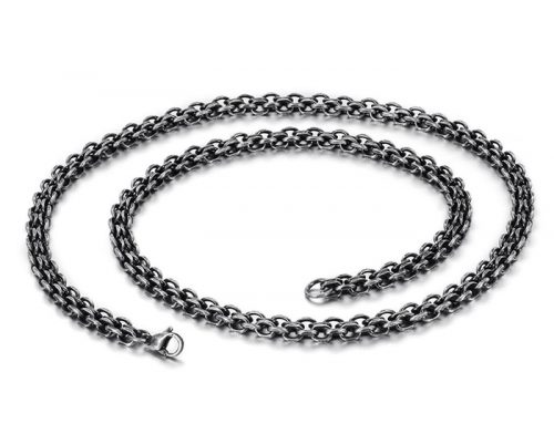 2019 trendy mens stainless steel double strand rolo chain european hip hop jewelry factory