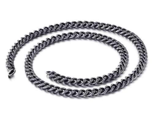 High quality mens stainless steel cuban link curb chain flat edge design jewelry