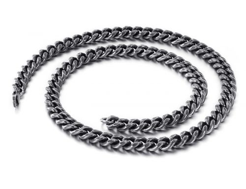 Hip hop stylish mens stainless steel cuban link curb chain flat edge design jewelry