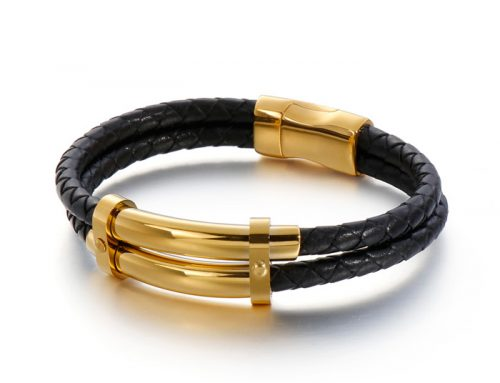 Double strands metal gloss mens braided leather bracelet jewelry manufactory