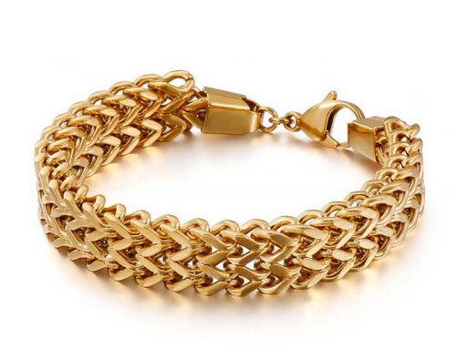 Exclusive design mens stainless steel double strands franco chain bracelet street wear jewelry