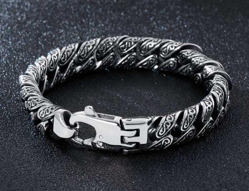 Totem pattern cuban link curb bracelet mens stainless steel jewelry
