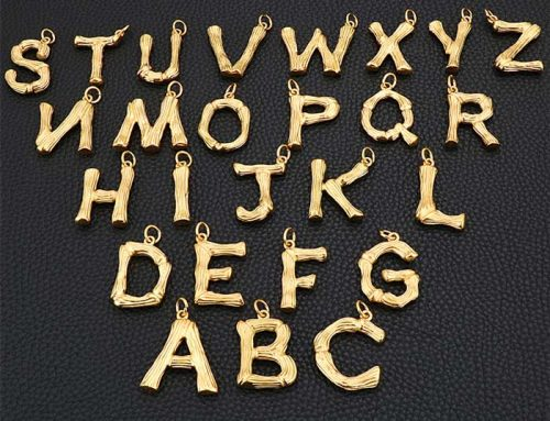 bamboo texture hip hop alphabet 26 letters mens stainless steel pendant jewelry