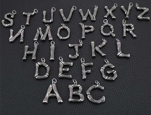 bamboo texture hip hop alphabet letter mens stainless steel pendant jewelry