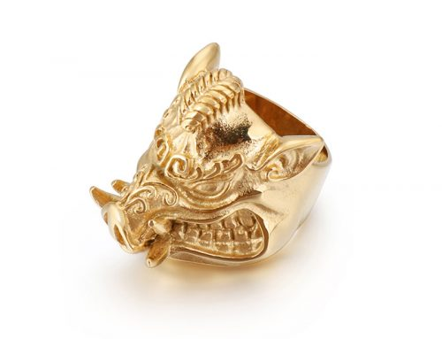new fashion wild boar in rage mens stainless steel animal ring jewelry