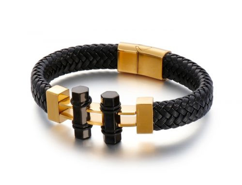 special design christmas gift mens braided leather bracelet jewelry