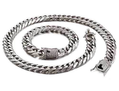 13mm wide classic design mens stainless steel cuban link curb chain and bracelet jewelry manufacturer