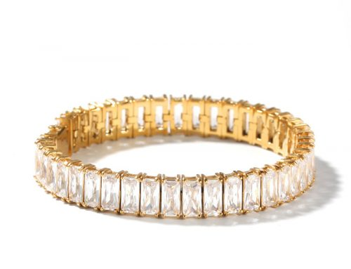 2020 shining dazzling simulated DIAMOND BAGUETTE BRACELET hip hop jewelry for artists and rappers