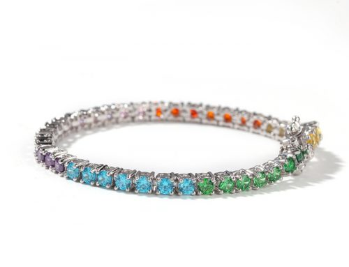 Multicolor cz diamond unisex copper tennis bracelet hip hop jewelry source supplier