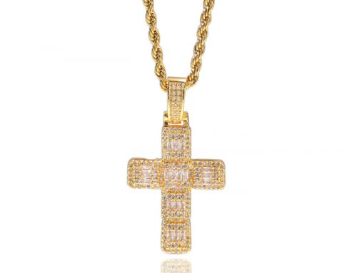 Vintage prayers cross pendant baguette diamond jewelry hip hop street wear accessory