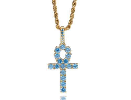 exclusive design egyptian ankh key pendant with sea blue diamond hip hop jewelry source manufacturer
