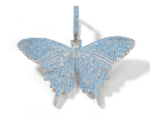 full blue diamond icedout dazzling butterfly pendant hip hop jewelry source manufacturer