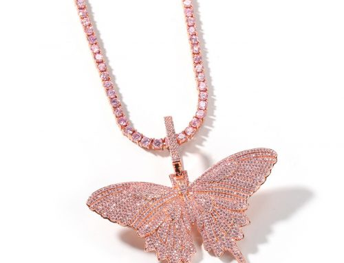 full pink diamond icedout bling bling butterfly pendant hip hop jewelry source supplier for e-commerce