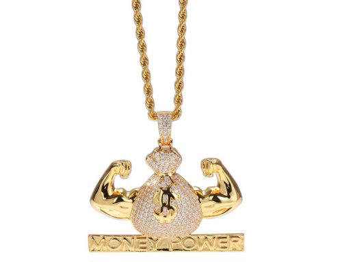 Fitness muscle mens choice copper money power pendant dazzling money bag with micro pave cz stone hip hop jewelry source factory