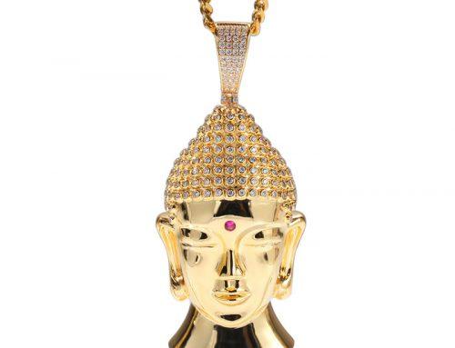 Hip Hop Buddha head copper pendant with micro pave cz stone hair