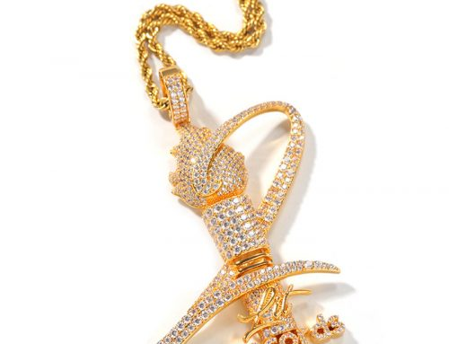 Trophy hip hop record torch iced out micro pave cz diamond pendant championship medal jewelry for game winners