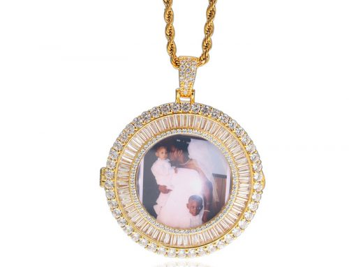 customizable photo iced out baguette frame round tag pendant hip hop jewelry for e-commerce sellers