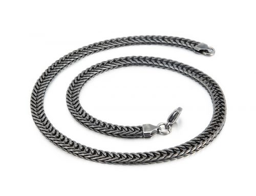 Flat edge 6mm to 8mm wide mens stainless steel Persian link Chainmaille 20 inch choker Necklace