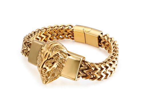 Giant lion head victroy mens stainless steel double strands franco link chain bracelet jigsaw clasp retro punk stylish jewelry source supplier