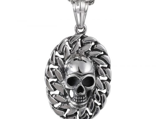 Gothic Skull emboss cuban link chain frame stainless steel pendant for bikers and rebels