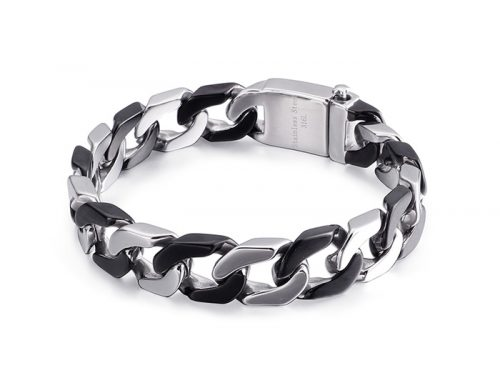 Silver and black tone mens stainless steel miami cuban link chain bracelet hip hop jewelry wholesaler