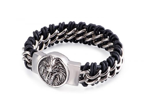 Wolf and lion head round tag ID 19mm wide mens stainless steel and braided leather bracelet viking stylish jewelry