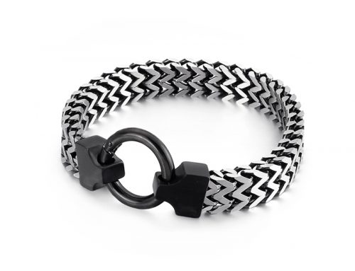 colorful double rows franco chain mens stainless steel bracelet with ring buckle high polished jewelry source factory