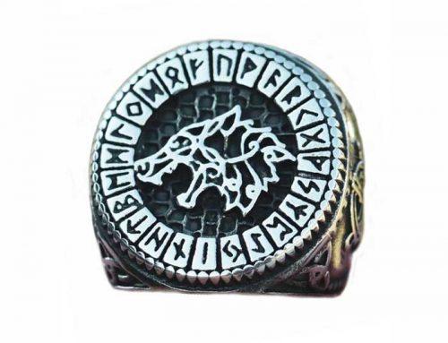 Viking Fenrir Trinity Jormungandr Runes Wolf head Ring