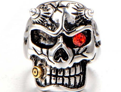 Smoking Red Eye Horn Vicious Skull Rebel Biker Ring