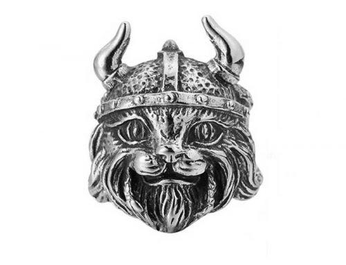 Viking Helmet Lynx Head Ring
