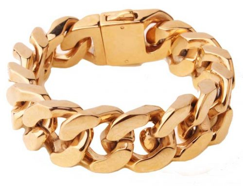 18K Gold Pated Cuban Link Curb Chain Bracelet