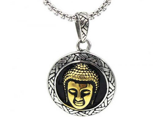 Golden Buddha Head Round Tag Prayer Pendant