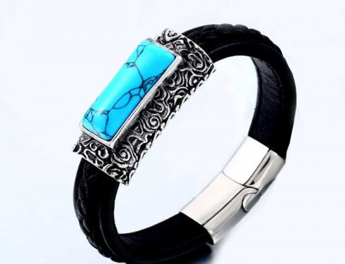 Retro Fashion Leather Band Jigsaw Clasp Bracelet