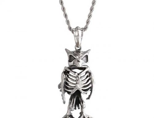 Super Cool Standing Owl Skeleton Pendant