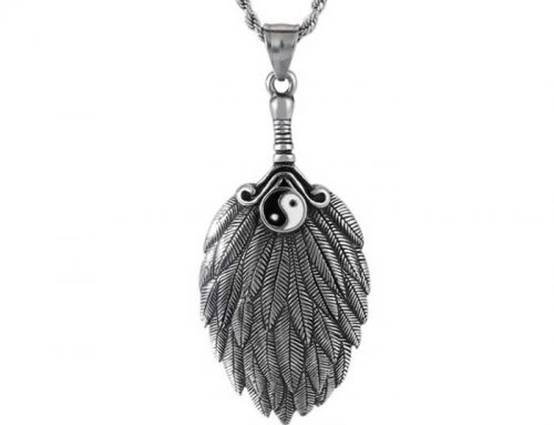Taichi Feather Fan Pendant