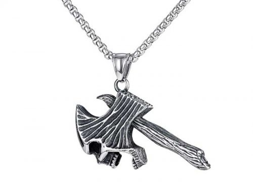 Warrior Soul Skull Viking War Axe Pendant