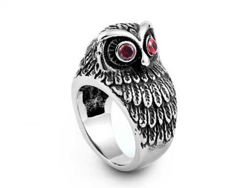 Red Gem Eyes Little Owl Ring