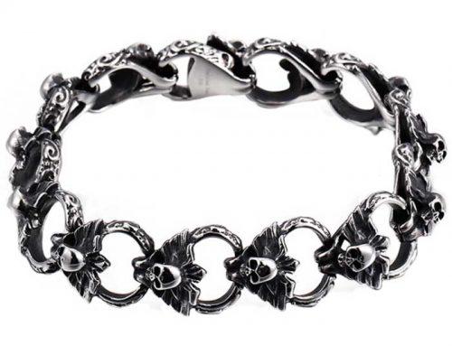 16mm wide mens stainless steel free wing biker skulls link bracelet