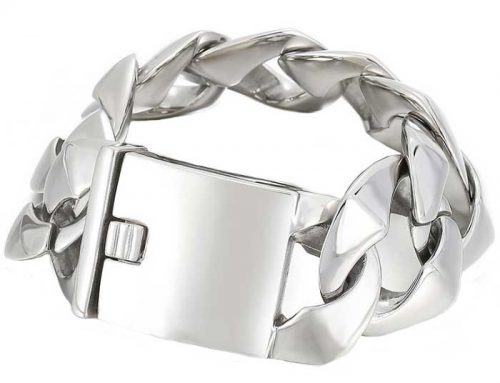 Heavy Metal 31mm wide Monster Cuban Links Curb Chain Bracelet