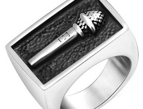 Hip Hop Square Box Microphone ID Ring