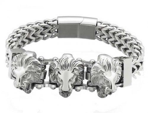 triple lion heads biker chain 12mm wide double strands franco chain bracelet